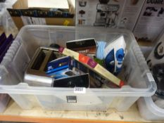 Assorted lot inc. irons, leather care, toothbrushes, toaster