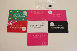 Debenhams (x7) - Total face value £125