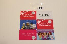 Debenhams (x6) - Total face value £125