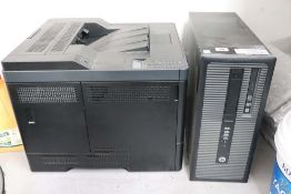 HP Pro Desk computer tower and a Dell LaserJet printer, both suitable for parts only