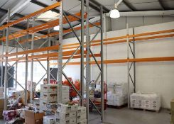 18 running bays of Apex UK 8 boltless pallet racking in orange and grey with, 26 x 4 metre