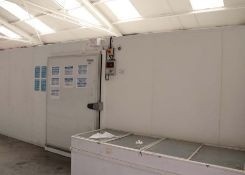 Freezer room - internal measurements approx 5 x 8.5 metres, external height 2.5m, single door,
