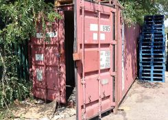 40ft steel shipping container with a ply floor and double door to one end measuring 8ft high