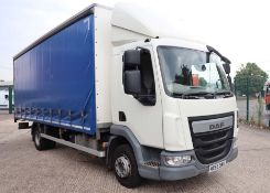 DAF TRUCKS Euro 6 curtain sided lorry, 12000kg gross, 4500cc diesel engine, first registered 28.09.
