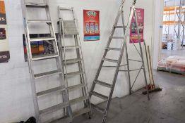 3 assorted aluminium step ladders
