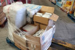 Pallet of disposable food containers including polystyrene and tin foil
