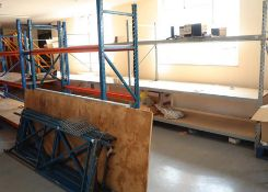 3 running bays of grey heavy duty boltless shelves, 3 x 2 metre uprights, 2.5 metre beams, with 3