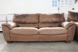 Two 2 seater brown leather sofas