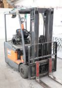 TOYOTA model E811 electric counterbalance forklift truck, 2007, capacity 1500kg with triple mast and