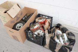 4 boxes of assorted trolley castors, wheels and tyres