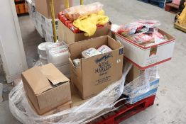 Pallet of assorted disposable food containers, chaffing fuel, rubber gloves, dish clothes and