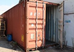 40ft steel shipping container with a ply floor and double door to one end measuring 9'6'' high