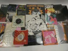 Box containing quantity of LP and 45 records to include Noel Gallagher, Queen, Bowie, Elton John,