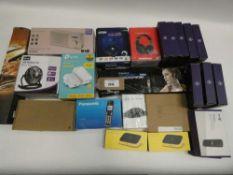 Bag containing BT 4G Assures, DAB digital radio, TP-Link, USB Desktop fan, Panasonic home phone,