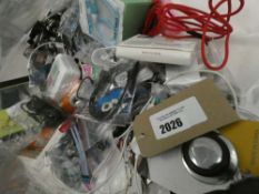 Bag containing quantity of various mobile phone accessories; leads, adapters, repair kits, earphones