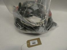Bag containing various cables, leads and PSUs