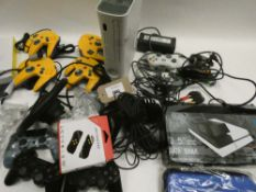 Bag containing quantity of various gaming accessories; Switch case, controllers, adapters etc