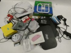 Bag containing routers, PC mouse, Raspberry Pi, EE Mini WiFi, laptop RAM etc