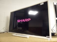 (152) 32'' Sharp TV LC-32DI3221KW, no stand, stuck on boot-up screen