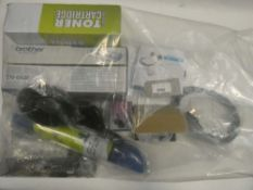 Bag containing toner cartridges and miscellaneous electrical related accessories