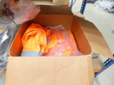 Box containing approx 20 pairs of high vis waterproof over trousers