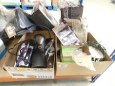 Box containing a large scented candle, cutlery, glasses, scales, plus another box of mixed kitchen