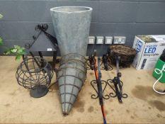 Galvanised plant pot, 4 hanging baskets, 4 hanging basket brackets, 2 light holders and some other