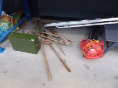 Underbay containing step ladder, leaf blowe, small metal box and a qty of small metal tools