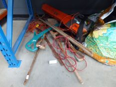 Half a bay of assorted tools inc. leaf blower, strimmer, etc