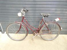 Burgundy ladies bike