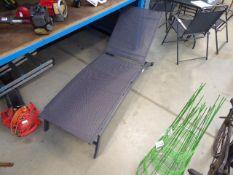 4095 Grey metal framed mesh garden lounger