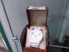 LA Banus chronograph ball crown sports watch in polar white