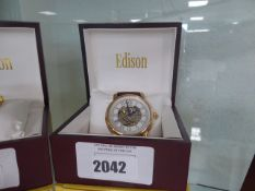 Edison automatic skeletal dial watch with rose gold coloured bezel and leather strap