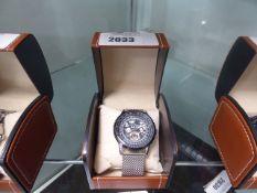 LA Banus Skeletor dial watch with mesh stainless steel strap