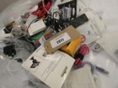 Bag containing quantity of various mobile phone accessories; leads, adapters, spare phone screens,
