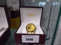 Edison automatic moon phase watch in stainless steel with yellow gold coloured strap
