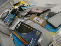 Bag containing quantity of various mobile phone cases and covers