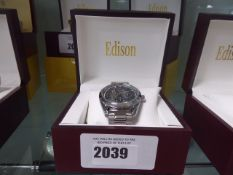 Edison automatic moon phase watch with stainless steel strap