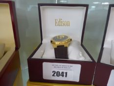 Edison automatic roadster hexagon watch with leather strap
