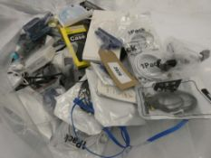 Bag containing quantity of various mobile phone accessories; leads, adapters, earphones, selfie