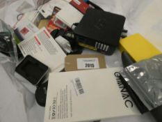 Bag containing various electrical related device and accessories; adapters, mouse, laptop RAM, EE