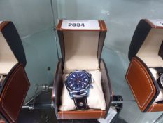 LA Banus rope bezel chronograph watch with blue faced dial