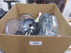 Box containing Braun hand whisker, plus some Kenwood mixer parts, etc