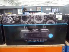 Boxed Gourmet 7.1 litre triple slow cooker