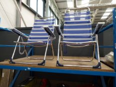 2 Young Collection blue and white folding chairs