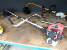 Red petrol powered strimmer