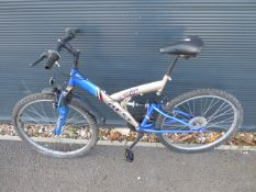 4027 Gold and blue suspension mountain cycle