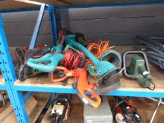 Electric leaf blower, quantity of strimmers and hedge cutter