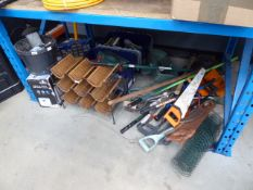 Large under bay of assorted tools, screws, fixings, saws, wine rack, air purifier etc