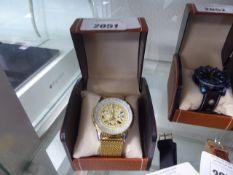 LA Banus gold coloured strap and bezel gents wrist watch